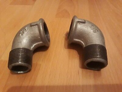"""3/4"""" BSP MALE x FEMALE GALV ELBOW PIPE FITTING - PACK OF 2"""