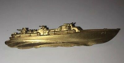WWII US Navy PT Patrol Boat 2 1/2 Inch Gold Plated Tie Clip by Elco