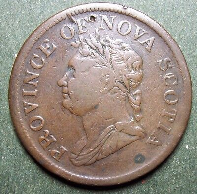 1832 Province Of Nova Scotia George Iv One Penny Token Br 870 Circulated