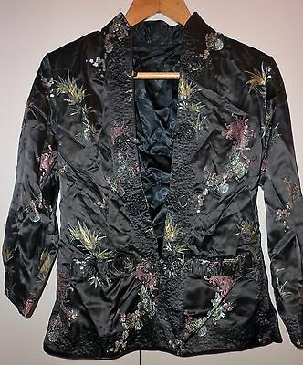 Vintage Reversible Chinese Silk  Embroidered Jacket  Medium Excellent Condition