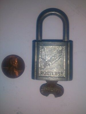 Small Old Vintage Working Slaymaker Rustless Padlock Lock with 1 Key Steampunk