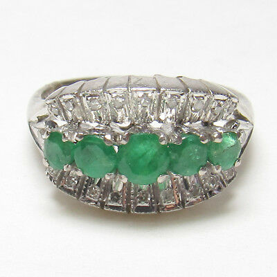 Estate 14K White Gold Natural Round Green Emerald And Diamond Ring 1.00 Ct