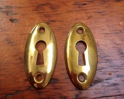Pair Vtg Antique Shiny Bright Lacquered Brass Key Hole Escutcheon Plates Covers