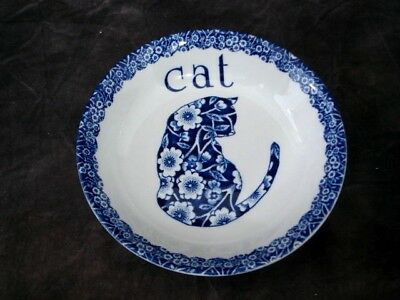 Royal Crownford Norma Sherman Blue CALICO Cat Saucer Staffordshire England 5""