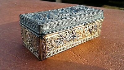 Japan Brass & Enamel Cloisonne Hinged Lid Stamp Box w/Dragons
