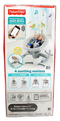 Fisher Price Smart Connect 4-in-1 Cradle 'n Swing Baby Swing Gray