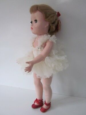 "Vtg Madame Alexander Ballerina Doll 14"" Tagged Original Dress Red Ballet Shoes"