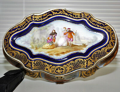 Sevres Porcelain Limoge Jewelry Box with Watteau Scene, Cobalt Blue and Gold