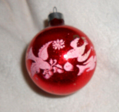 VTG Red with Stenciled White Mica Love Birds - Glass Christmas Ball Ornament