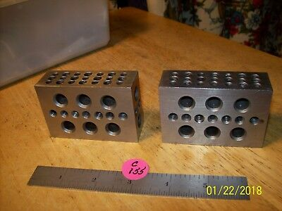 1-2-3 BLOCKS MATCHED PAIR PRECISION Taped & Clearance set up  HOLES V.G.C.+