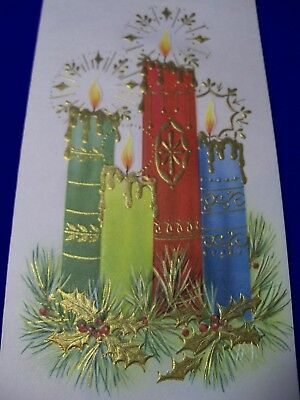 UNUSED Vtg GOLD Dripping CANDLES fancy HOLLY leaves pine mid century xmas card