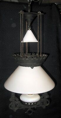 ANTIQUE 1877 VICTORIAN HANGING CAST IRON LIBRARY PARLOR kerosene GLASS OIL LAMP.