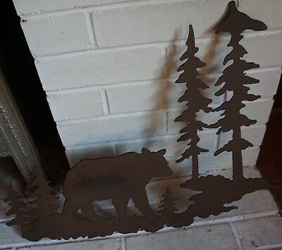 "20"" BROWN BEAR FOREST METAL SCULPTURE Rustic Lodge Log Cabin Home Decor Sign NEW"