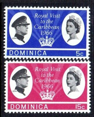 1966 DOMINICA ROYAL VISIT SG191-192 mint unhinged