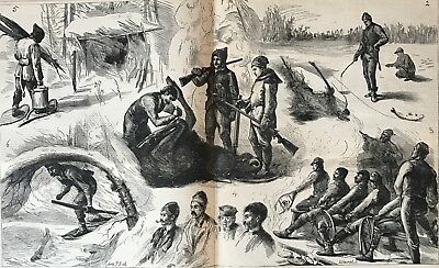 Moose Hunting In Canada. Huge Double-Page Wood Engraving, 1881.