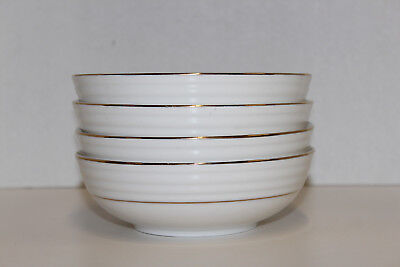 """Gibson Everyday, Downtown Gold; 4 - 6"""" Soup Cereal Bowls; White W/Gold Trim"""