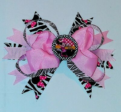 Minnie Hair Bow, Handmade Boutique Bows, pink mouse Birthday Outfit clip