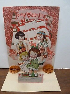 Antique Vintage Valentine's Day Card Pop Up Fold Out Honeycomb Paper Diecut