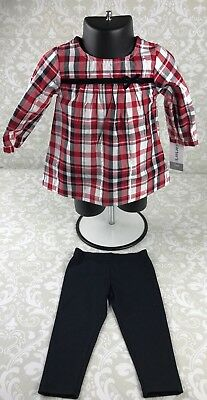 NWT Carter's Baby Girl 6 M Red Black Plaid Top Leggings Outfit Set Christmas