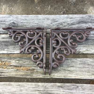 "Pair of 6"" Cast Iron Small Acanthus Wall Shelf Brackets Garden Braces Rustic"
