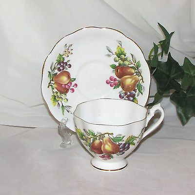 Vintage Queen Anne Fine Bone China Footed Cup & Saucer Fruit & Berries Pear