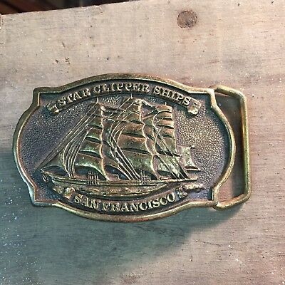 Very Nice Star Clipper Ships San Francisco Belt Buckle Solid Brass 1978 BTS