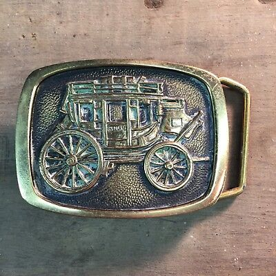 Wagon Carriage Stage Coach Solid Brass Vintage 1970s BTS Belt Buckle