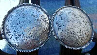 Beautiful 2-1/2 in. wide Rope Edge Side Conchos Vintage Horse Show Headstall