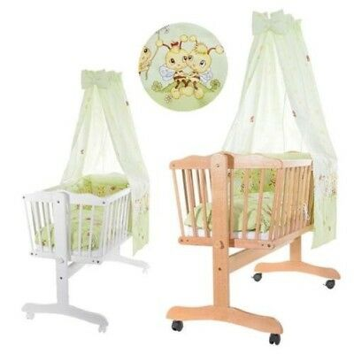 baby-plus Wiebke Cradle with textilausstattung Solid Beech CHOICE OF COLOURS NEW