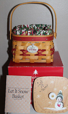 1999 Longaberger Let It Snow  Basket, Red, Protector, Fabric, Hand Painted Lid