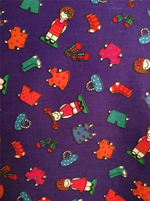 "VTG Tandler Paper Dolls Accessories Cutouts Hvy 60"" Purple Fabric 1991 BTY Nice"