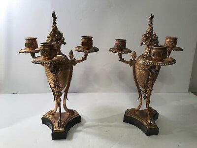 A Pair Of French Antique  Gilt Bronze Candlesticks