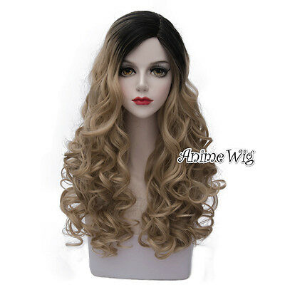 Lolita Blonde Mixed Black Long 60CM Curly Fashion Party Cosplay Wig + Wig Cap