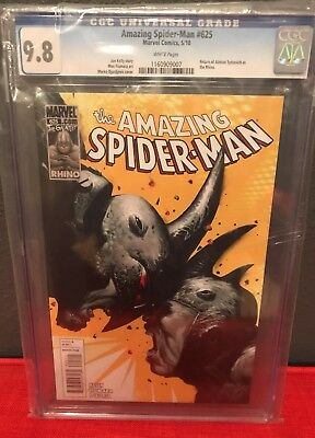 The Amazing Spider-Man #625 CGC 9.8 White Pages Rhinos Cover Homecoming