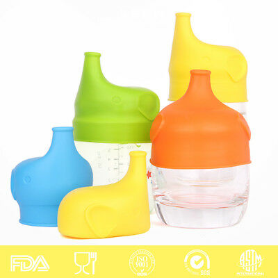 Silicone Food-Grade Sippy Lid Cup Leak-Proof Baby Bottle Learner Nursing