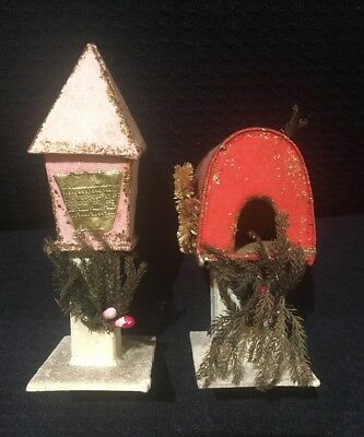Unusual Vintage Putz Mica Christmas Village Mailboxes To Go With Your Village!!