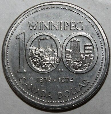Canadian One Dollar Coin, 1974 - KM# 88 - Canada Winnipeg 100th Anniversary $1