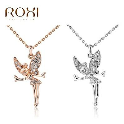 ROXI Women Fashion 18K Rose Gold Plated Angel Fairy Crystal Pendant Necklace