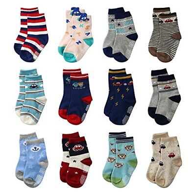 La Volupte Baby Boyג€™s Ankle Cotton Socks Toddler Non Skid with Grip 12 Pairs