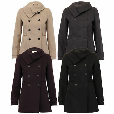 Ladies Wool Look Coat Womens Jacket Double Breasted Outerwear Trench Winter New
