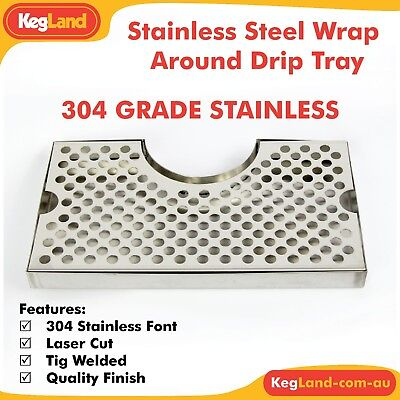 30cm Wide 304 STAINLESS STEEL Cut Out Drip Tray Home Brew Kegerator Bar Beer tap