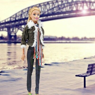 29cm Fashion Casual Army Green Jacket Scarf Outfit  Pant Shoes For Barbie Doll