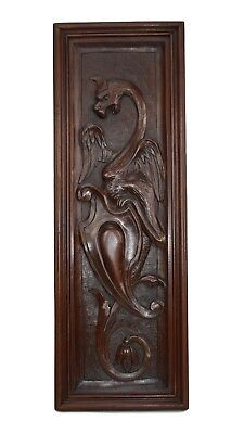 French Antique Neo Gothic Hand Carved Griffin Chimera Wood Wall Panel 19th.C