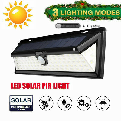 60/90 LED Solar Power Wall Light PIR Motion Sensor Outdoor Garden Security Lamp