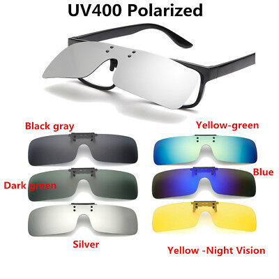 Clip On Flip Up Style Sunglasses UV400 Night Vision Driving Fishing Eyewear Lens