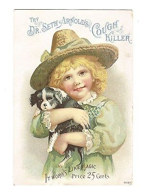 Dr.Seth Arnold's Cough Killer Victorian Trade Card Girl and Dog Quack Medicine