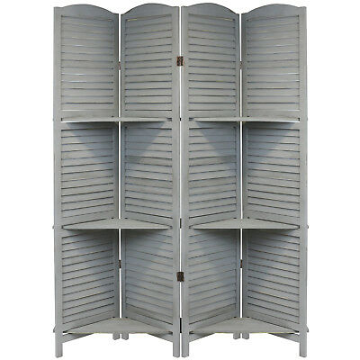 Hartleys 4 Panel Grey Vintage 3 Tier Shelf Room Divider/separator Privacy Screen