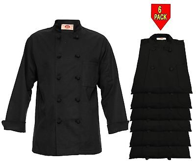 Chef Apparel 350 10 Knot Button Chef Coat-Easy-Care Twill 6 Pack Black New