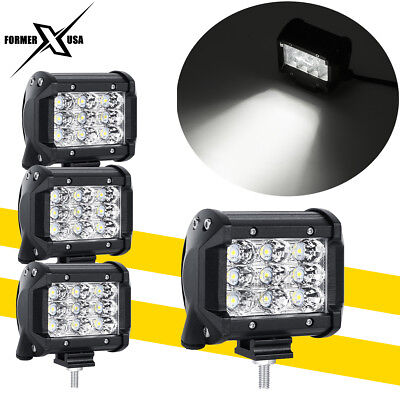 4x 3Row 4inch 27W CREE LED Work Driving Light Flood Pod OFFROAD 4WD TRUCK VS 18W
