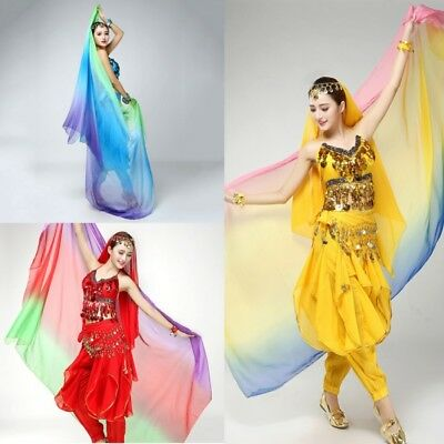 US Women Belly Dancing Sheer Mix-colour Veil Shawl Face Scarf Bollywood Costume